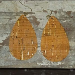 Classic Cork Gold Teardrop Earrings, quarter size